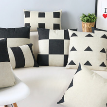 Black and white geometric contracted and contemporary cotton pillowcase car sofa cushion for leaning on of 45 * 45 No Inner