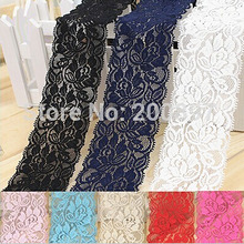 elastic trim lace 6.5cm DIY lace accessories for clothes or bags 10meters lot 8 color choice(China)