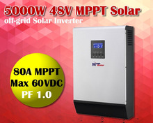 5000w Solar inverter 48v 230vac+ mppt solar charger 80A + 60A battery charger  parallel able