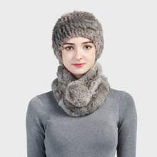 Aorice SF724 women's real Rex rabbit fur hats&scarves sets brand new 2017 genuine fur hat scarf sets 3 colors(China)