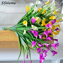 Mini Size PE Calla Lily Bouquet 3 Colors Real Touch Decorative Flower Artificial Flower Wedding Party Festival Home Decro