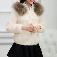 Brand Factory Outlet Fur Genuine Full Pelt Fur Coat Short Design Real Raccoon Fur Collar Whole Skin Fur Jacket Waistcoat TSR35(China)