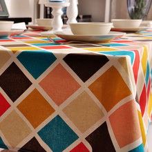 New Cotton linen Table Cloth tablecloth dinner Mat Cover geometry colorful printed style  kitchen Dec wholesale FG218