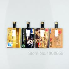 Over 10 Free Logo Fashion Credit card usb flash drive 32GB 16GB 8GB 4GB Individuality USB 2.0 Memory Stick Customize Pen Drive