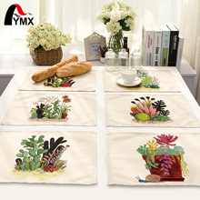 Mix 6 Style Table Napkins Cactus meaty plants Printed Linen Cloth Dinner Table Deco Accessories Wedding Party Napkins Wholesale(China)
