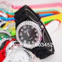 Wholesale Price Geneva Brand Silicone Watch Crystal Candy Colors Quartz Watch Economic Price,1000pcs/lot,15Colors For Option