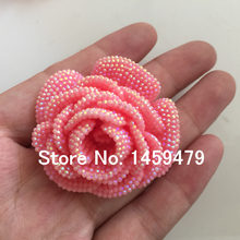 Plating Resin flower DIY jewelry accessories Pink AB Color Stick-On  Crystals Rhinestones Craft art Accessory Stones 4pcs 47mm 32680757a8d9