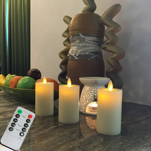 "Flameless LED Pillar Candles 2.2 x 4"" Set of 3 Unscented (Ivory) With Remote and Timer For Home Decor and Holiday(China)"