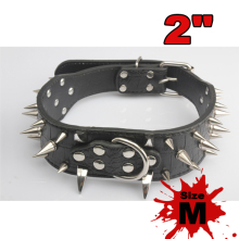 1 pcs Spiked Dog Collar 2 Feet Wide Spiked Studded Soft Leather Dog Collars PitBull Mastiff Size M For Bulldog Pets Supplies