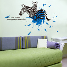 New Can Remove The Green Wall Post Zebra Love Sitting Room Home Decoration Manufacturer Wholesale(China)