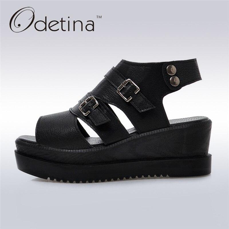 Odetina 2017 Fashion Gladiator Platform Wedge Sandals Woman Peep Toe Buckle Strap Sandals Thick Heel Summer Shoes Big Size 43<br>
