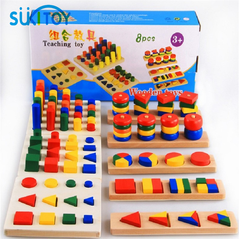 Kids Soft Montessori Wooden Blocks Toy 8 In 1 set Geometric Shape matching learning high quality classic educational gift<br><br>Aliexpress