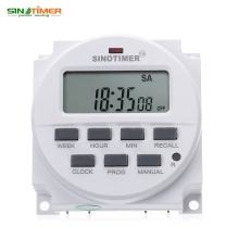 SINOTIMER 220 - 240V AC / 12V DC 7 Days Programmable Timer Switch with UL listed Relay inside and Countdown Time Function