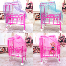 NK One Set Doll Accessories Baby Bed Super Cute Bed For Small Kelly Dolls For Barbie Dolls Girls Gift Favorite Design Toys(China)