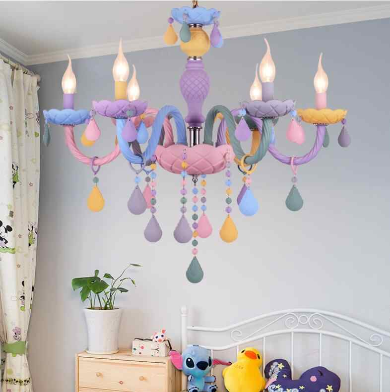 Macaron sweet color candle chandelier restaurant lamp bedroom lamp  children\'s room girl princess home decoration lamps.