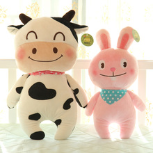 [ 40Cm 52Cm 5 Design ] Animal Series PP Cotton Stuffed Chicken Bear Cow Rabbit Frog Dolls Soft Plush Toys Lovely Kids Gift