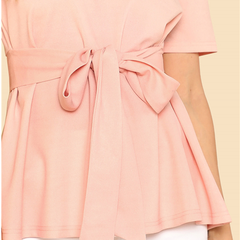 Sheinside Self Belt Keyhole Back Blouse Solid Short Sleeve Top 18 Summer Women Office Ladies Work Elegant Blouse 13