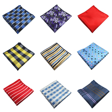 Plaid Silk Handkerchiefs Woven Paisley Pattern Hanky Men's Business Casual Square Pockets Handkerchief Wedding Hankies(China)