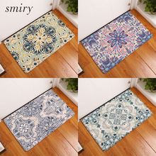 Smiry 40*60cm commercial door mats fascinating Indian mandala geometric flower carpets dust proof flannel rugs home decor crafts