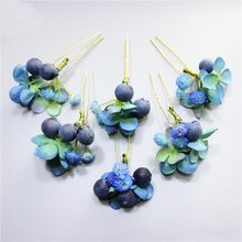 6PCS/Lot New Arrival Wedding Bridal Accessory New Fashion Jewelry For Women Gift,Handmade Berry Flower Hairpins Hair Clips T018