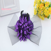 12pcs/Lot 13cm Mini Floral Hat Korean Fashion Purple Blue Red Pink Childen Girl Cute Top Hat Hairpin Wedding Party Hair Ornament(China)