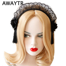AWAYTR Women Sexy Black Lace Headband Bridal Tassel Lace Hairband Wedding Photography Portrait Hair Hoop hair accessories(China)
