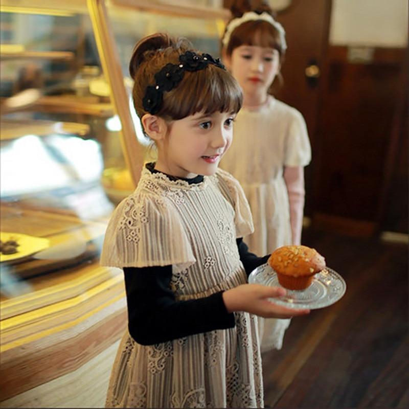 Girls Dress 2017 Winter Girls Dresses Long Sleeve Black/Pink Lace Patchwork Mesh Design Princess Dress Children Clothing<br><br>Aliexpress