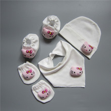 100% Handmade Cotton Newborn Baby Mittens to Avoid Scratching Face, 0-6 months Cute Infant Gloves, Hat, Bib 4pcs Sets