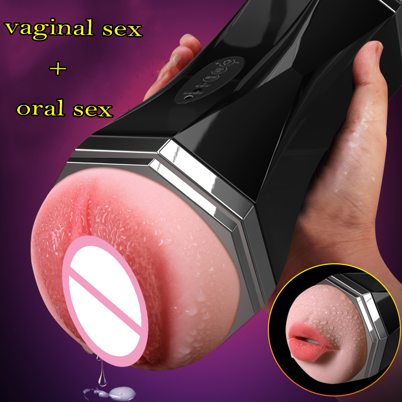 Mens Sex Toys Sucking Machine Vaginal Sex+Oral Sex Pocket Pussy Male Masturbator Cup With Voice Sextoys Adults For Men Vibrator<br>
