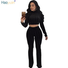 HAOYUAN Velour Tracksuit Beading Long Sleeve Crop Tops and Wide Leg Pants Suits 2018 Autumn Sexy Velvet 2 Two Piece Sets Women(China)