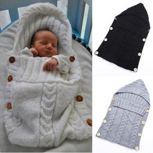 70*35cm Newborn Baby Sleeping Bag Winter Warm Wool Knitted Hoodie Swaddle Wrap Cute Soft Infant Swaddling Blanket Sleeping Bag(China)
