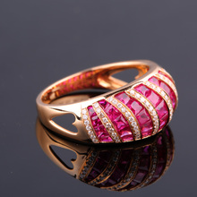 Robira 2017 Fashion Top Quality Natural Ruby Wedding Band For Women 18K Rose Gold Diamoond Engagement Jewelry Female Rings