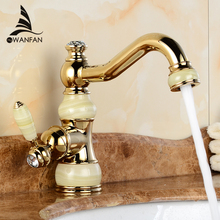 Free Shipping Brass Jade Body Torneira Cozinha with Marble Basin Faucet Single Handle Gold Finish Basin Sink Mixers Taps U-27(China)