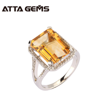 Natural citrine sterling silver women ring, big citrine in 10mm*14mm, women's fine jewelry silver citrine ring for party(China)
