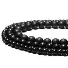 Wholesale Black Dull Polish Matte Onyx Agate Glass Stone Beads For Jewelry Making DIY Necklace Bracelet 4/6/8/10/12/14 mm  15''