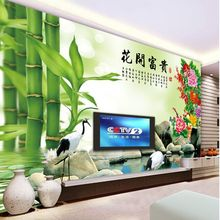mural no spinning paper TV wall background wallpaper wallpaper Chinese living room wall paper flowers and rich bamboo