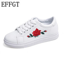 EFFGT 2017 New designer shoes woman fashion rose flower embroider creepers black/white leather flat shoes free shipping N288