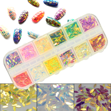 1Set Colorful Leaf Shape Sequins Slice Nail Art DIY Decoration Tips 3D Shining Stickers Nail Care BEMY(China)