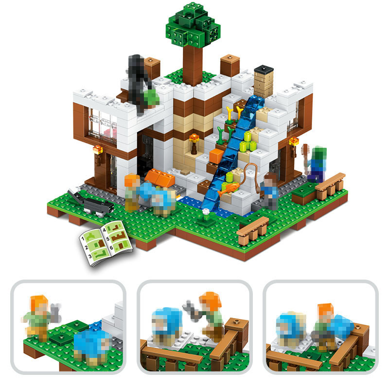 744PCS New My World Building Blocks SetsWaterfall slide base Compatible LegoINGLYS Minecrafter Technic blocks Toys for Children<br>