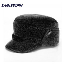2017 Thicken Men Flat Cap Men's Fur Military Hat with Earflaps Man High Quality Winter Warm Hat Daddy Gift(China)