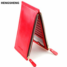 HENGSHENG Fashion Wallet Women Wallet Double Zippers Colourful Ultrathin Coin Wallet Women Handbag Women Purse Card Holders 1039