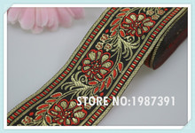 wide 5cm 10yards/lot Polyester Woven Jacquard Ribbon red flowers brown background for hat curtain and clothing accessory ls-5851