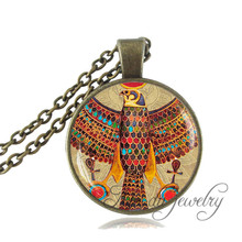 Egyptian Horus Necklace Egyptian Falcon Pendant Ancient Egypt Jewelry Vintage Art Picture Bird Necklace Glass Dome Ankh Pendant(China)