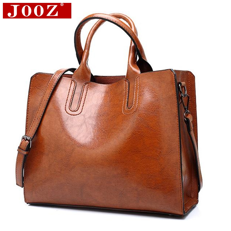 Womens Soft Leather Handbag Large Oil Wax Tote Travel Shoulder Crossbody Bag