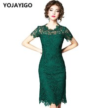 Buy YOJAYIGO New 2017 Fashion Women Dresses,O-neck Solid Hollow Sexy Slim Lace Bodycon Dress,Green Short Sleeves Casual Vestidos for $55.89 in AliExpress store