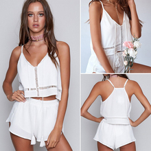 2017 Sexy Summer Women White Sexy Hollow Out Ensemble Deep V Camis+ Shorts 2 Piece Set Solid Strap Beach Crop Tops Tacksuits(China)