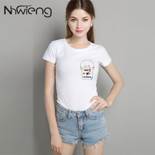 Kawaii simple music animal tee shirt women short sleeve summer 2017 slim plus size brand clothing t-shirt mujer plain white tees
