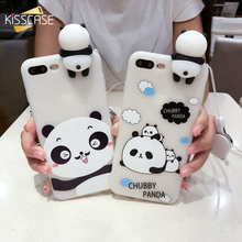 KISSCASE Lovely 3D Panda TPU Phone Cases For iPhone 7 8 Case Cartoon Soft Silicone Cover For iPhone 6 6s 7 8 Plus X 10 6s Coque(China)