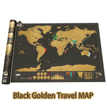 Deluxe Scratch Off World Map Travel Edition Poster Personalized Journal Map Black Golden Map Wholesale Drop Sell(China)