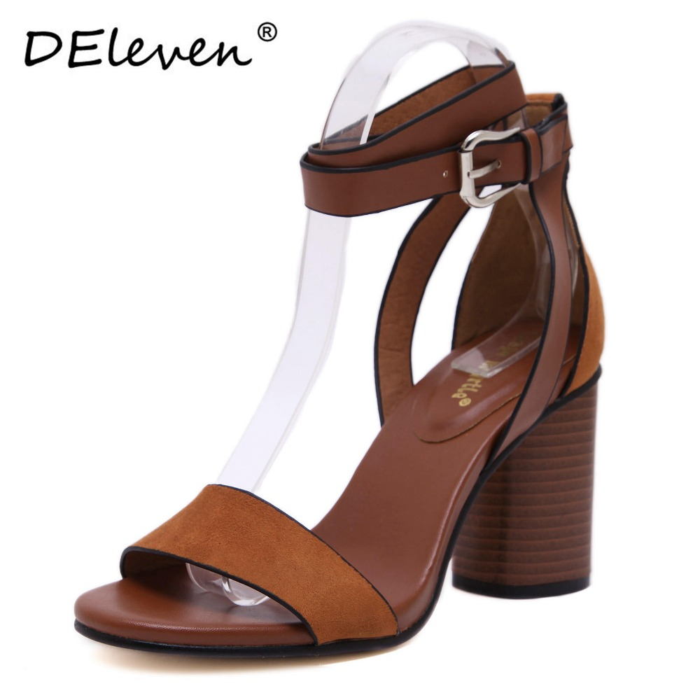 2017 New Retro Flock Square Heels Buckle Strap Leisure hasp Sexy Sandals Shoes Woman Ankle Strap Zapatos Mujer Black Brown US4~8<br><br>Aliexpress